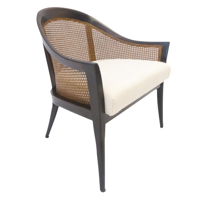 Stunning Harvey Probber Cane and Mahogany Occasional Armchair For Sale