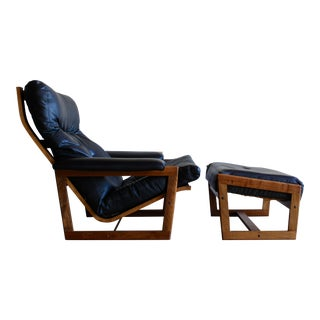 Swedish Mid Century Lennart Bender for Ulferts Mobelfabrik Walnut Bentwood Lounge Chair and Ottoman Danish Style - a Pair