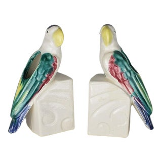 Colorful Hollywood Regency Ceramic Parrot Vase Bookends - a Pair For Sale