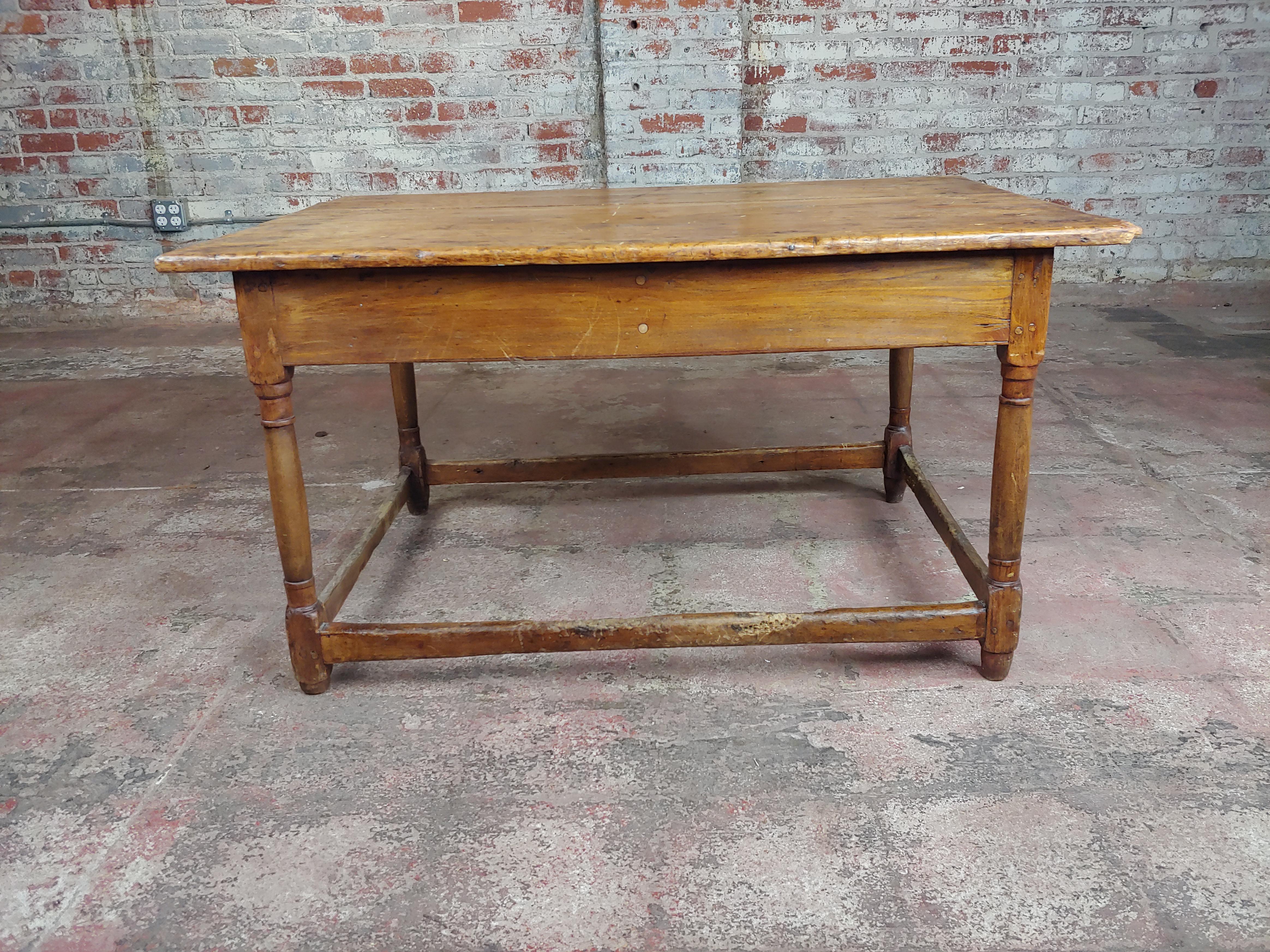 Bon 19th Century English Walnut Farm Coffee Table