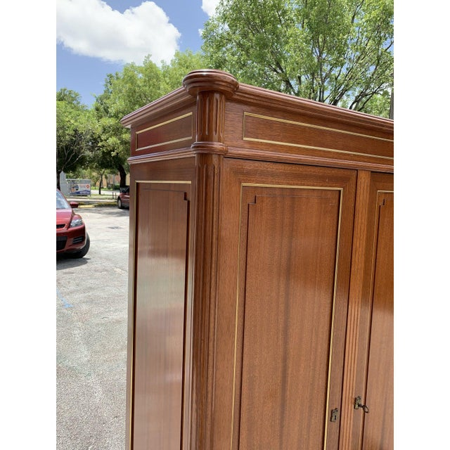 1910s French Louis XVI Antique Mahogany Armoire For Sale - Image 12 of 13