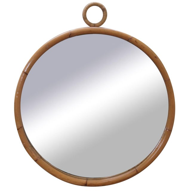 Mid-Century Round Bamboo Wall Mirror - Image 1 of 10