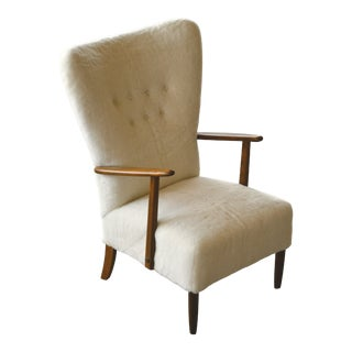 Danish 1950s Highback Lounge Chair Newly Upholstered in Lambswool For Sale