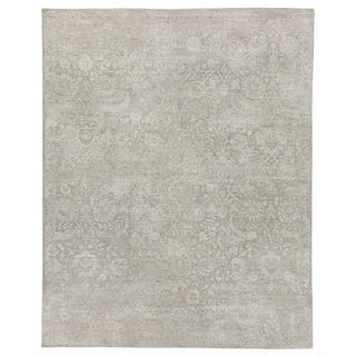 Bryant Ivory/Beige Hand knotted Wool/Viscose/Cotton Area Rug - 12'x15' For Sale