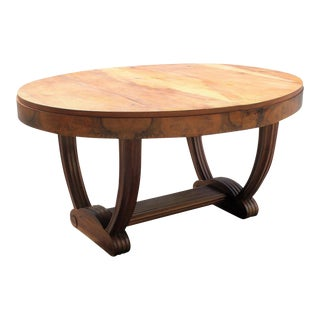 1940s Danish Modern Solid Walnut Oval Dining Table For Sale
