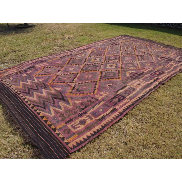 "Purple Diamond Kilim Rug - 8'8"" x 15'1"" - Image 9 of 11"