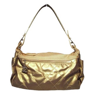 Chanel Metallic Gold Leather Shopper For Sale
