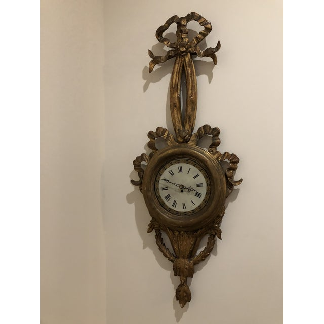 Late 19th Century Antique French Wood Carved Wall Clock For Sale - Image 5 of 5