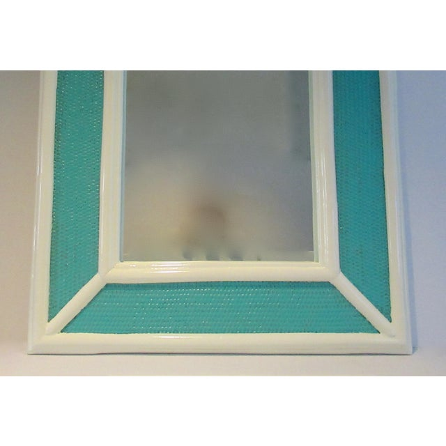 Teal Vintage C.1960's Palm Beach Style Bamboo & Wicker 2-Tone High Gloss Lacquered Mirror For Sale - Image 8 of 12