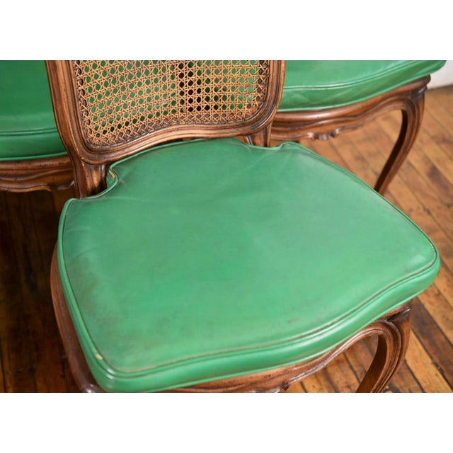 6 French Provincial Caned Dining Chairs-Green Leather Cushions - Image 7 of 8