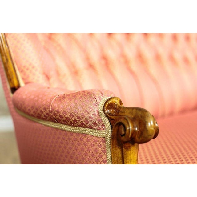 Traditional Tufted Pink Mahogany Sofa Circa 1890 For Sale - Image 3 of 9