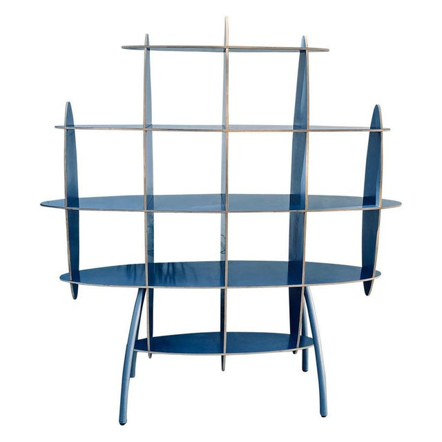 Italian Contemporary Modern Blue Standing Rack/Shelf For Sale In Los Angeles - Image 6 of 6