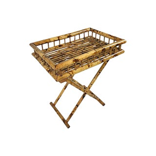 Rattan Serving Tray on Folding Stand For Sale