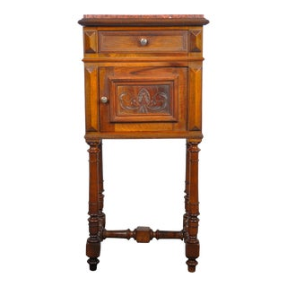 1920's French Oak Nightstand with Red Marble Top For Sale