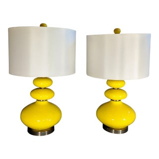 Yellow Mid-Century Modern Lamps - a Pair For Sale