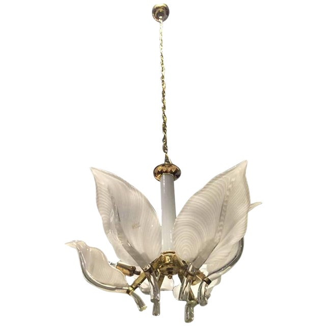 Franco Luce Italian Murano Mid Century Floral Chandelier For Sale