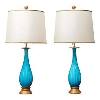 Murano Glass Table Lamps by Mabro For Sale