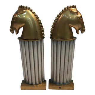 1930s Art Deco Bronze and Aluminum Horsehead Andirons - a Pair For Sale