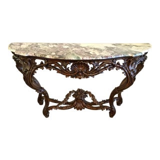 Traditional Carved Wood and Marble Console Table For Sale
