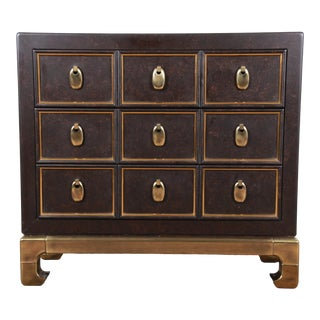 1970s Mastercraft Hollywood Regency Chinoiserie Faux Tortoise Shell and Brass Chest of Drawers For Sale