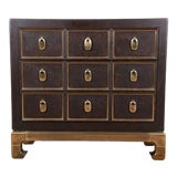 Image of Mastercraft Hollywood Regency Chinoiserie Faux Tortoise Shell and Brass Chest of Drawers For Sale