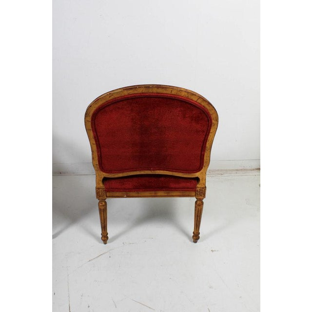 Hollywood Regency Red Velvet Bergere Armchairs Dining Chairs - Set of 4 For Sale - Image 11 of 13
