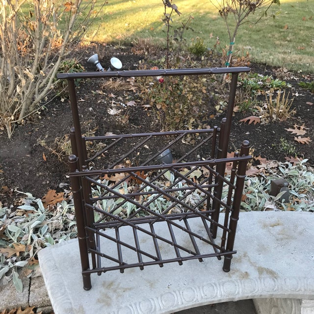Vintage Metal Faux Bamboo Magazine Rack For Sale - Image 4 of 6