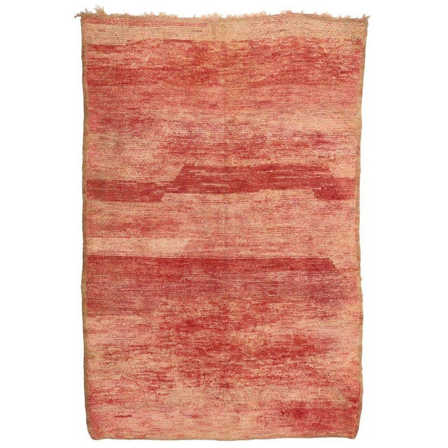Berber Tribes of Morocco Vintage Berber Moroccan Rug with Sunset Colors For Sale - Image 4 of 4