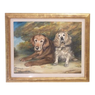 20th Century Early American Watercolor of Dogs For Sale