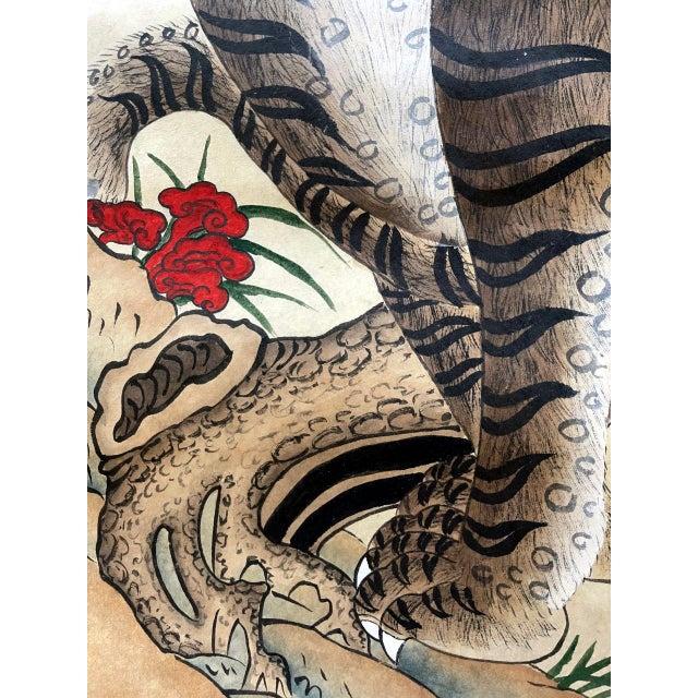 1930s Korean Jakhodo Minhwa Folk Scroll Painting For Sale - Image 5 of 11