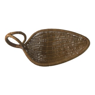 1980s Vintage Leaf Shaped Wicker Rattan Basket For Sale