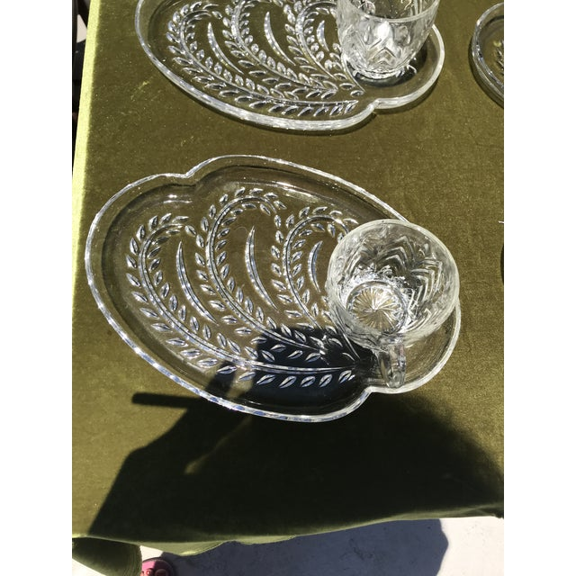 Mid-Century Modern Mid-Century Wheat Pattern Glass Luncheon Plates & Cups - Service for 10 For Sale - Image 3 of 5
