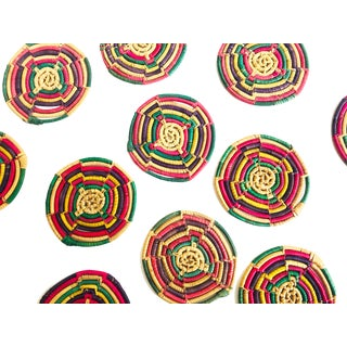 Vintage Colorful Woven Coil Coasters - Set of 11 For Sale