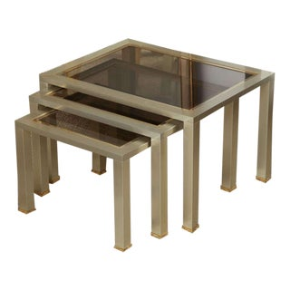 Set of Chrome and Brass Nesting Tables For Sale