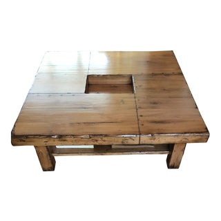 Rustic Square Wood Coffee Table For Sale