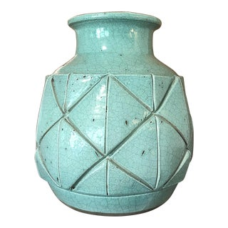 Vintage Mid-Century Handthrown Vase With Crackle Finish For Sale