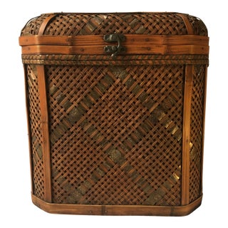 Vintage Chinese Bamboo and Rattan Domed Keepsake / Bridal Chest For Sale