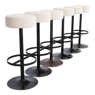 Raw Linen Upholstered Bar Stools - Set of 6 For Sale