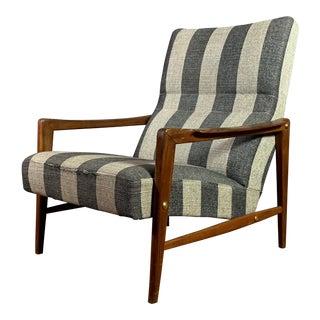 1960s Vintage Scandinavian Striped-Wool & Walnut Lounge Chair For Sale