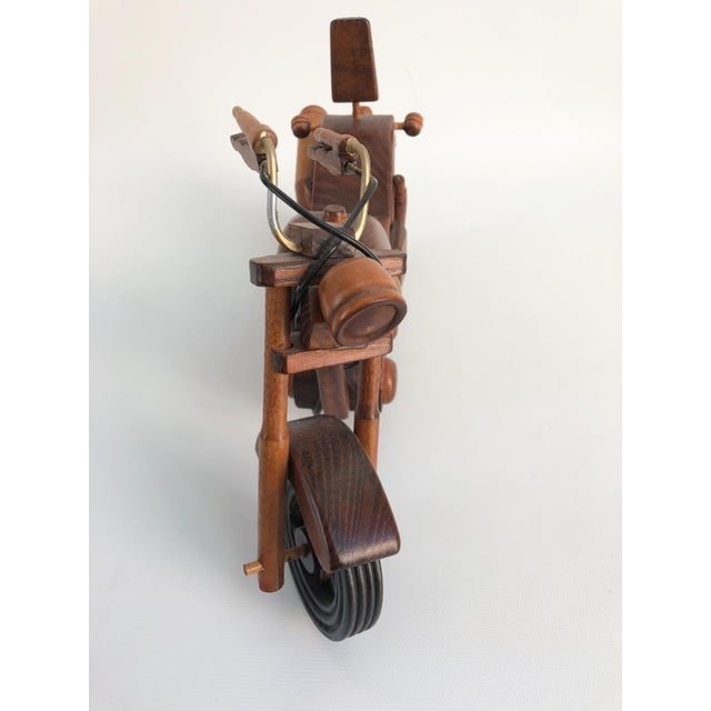 Mid-Century Modern Vintage Motorcycle Wood Model Sculpture For Sale - Image 3 of 8