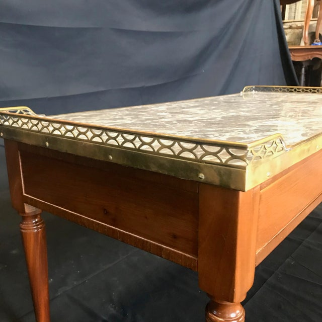 Metal 1920's French Louis XVI Style Walnut and Marble Coffee Table For Sale - Image 7 of 11