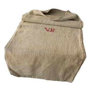 """""""VR"""" Monogram Homespun Nubby Linen Hemp Grain Sack Bag For Sale"""