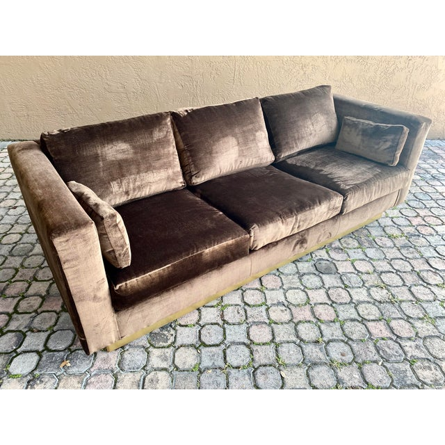 Newly reupholstered dark chocolate brown velvet tuxedo sofa. Comfortable seating for four and stretches 84'' long....
