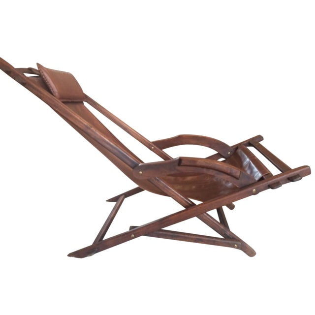 Mid-Century Wooden And Leather Lounge Chair - Image 1 of 4