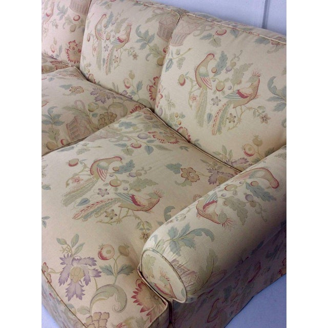 George Smith English Sofa, Manner of George Smith, Custom Upholstered in Bennison Linen For Sale - Image 4 of 7