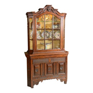 Mid 19th Century Dutch Oak Display Cabinet For Sale