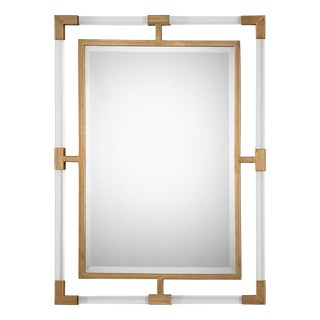 Modern Plexiglass & Brass Mirror For Sale