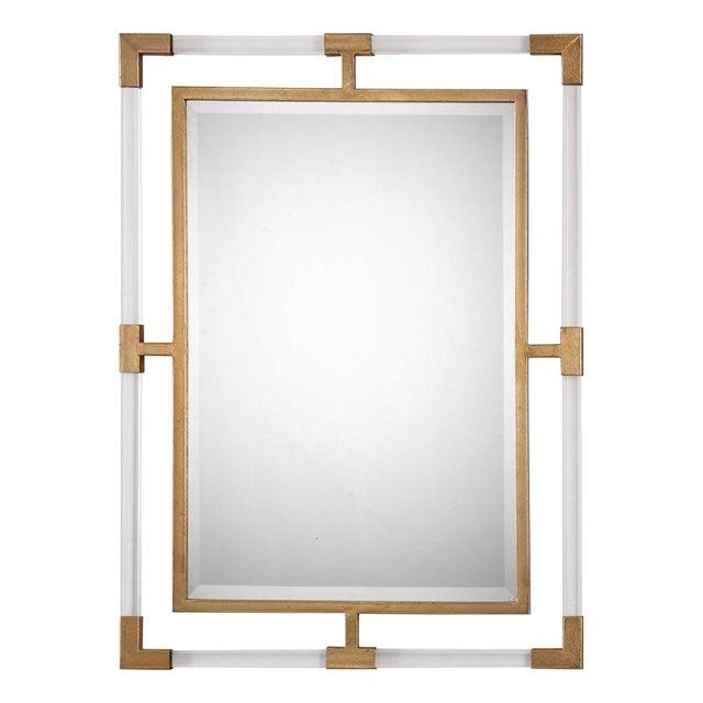 Modern Plexiglass & Brass Mirror For Sale