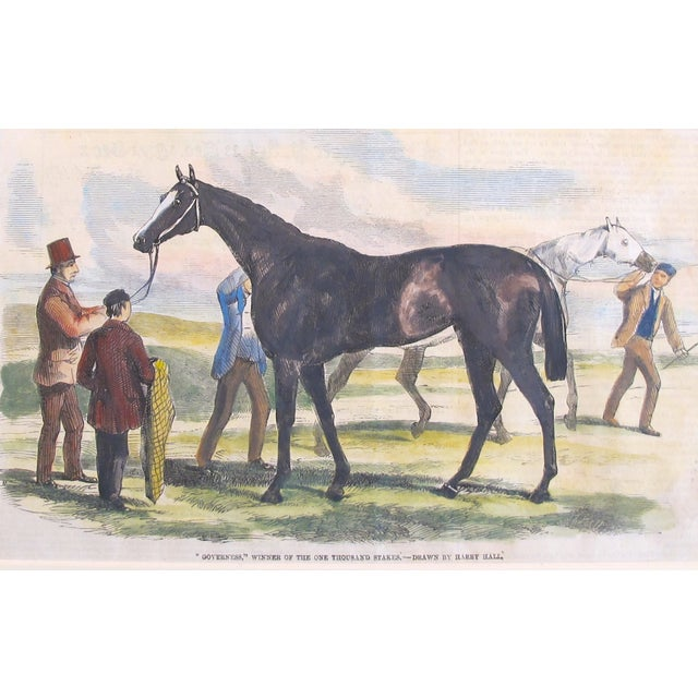 1860's antique British equine print - matted and ready to frame. Date: 1860's Size: 9.25 x 5.75 inches, matted to 16 x 12...