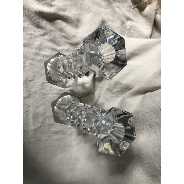 1990s Crystal Geometric Candle Holders - a Pair For Sale - Image 4 of 6